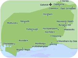 PAT Testing West Sussex map